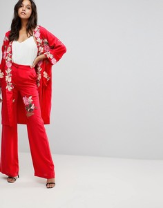 Брюки с широкими штанинами и вышитыми розами Millie Mackintosh - Красный