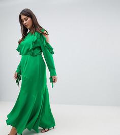 Платье макси с вырезами на плечах и оборками ASOS CURVE - Зеленый