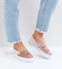 Кеды для широкой стопы с вышивкой ASOS DELICATE - Розовый