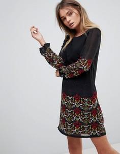 Платье-туника с длинными рукавами и принтом Yumi - Темно-синий