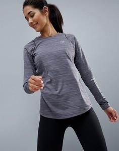 Серый лонгслив New Balance Running - Черный
