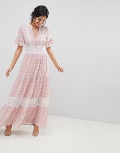 Чайное платье макси с кружевной отделкой Forever New - Розовый