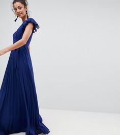Плиссированное платье макси с рукавами клеш ASOS TALL - Темно-синий