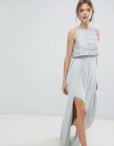Платье макси с укороченным топом и декоративной отделкой ASOS - Зеленый