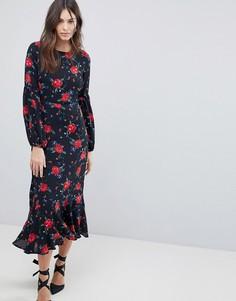 Платье макси с цветочным принтом и пышными рукавами на манжетах Fashion Union - Черный