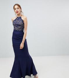 Кружевное платье с высоким воротом Jarlo Tall - Темно-синий
