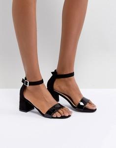 Черные босоножки на среднем блочном каблуке Glamorous Barely There - Черный