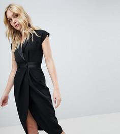 Платье-смокинг миди с атласной отделкой ASOS DESIGN Tall - Черный