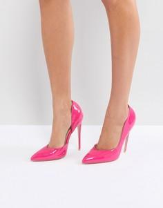 Ярко-розовые лакированные туфли-лодочки Public Desire Sachi - Розовый