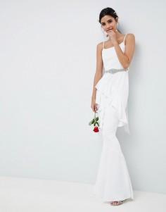 Платье макси с декорированным поясом и оборками ASOS EDITION Bridal - Белый