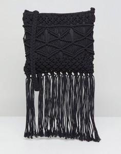 Сумка через плечо с кисточками New Look - Черный