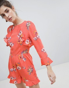 Ромпер с цветочным принтом Neon Rose - Красный