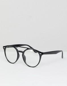 Круглые очки с прозрачными стеклами и двойной планкой сверху Jeepers Peepers - Черный