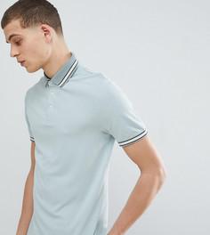 Голубая футболка-поло с контрастным кантом Ted Baker TALL - Зеленый