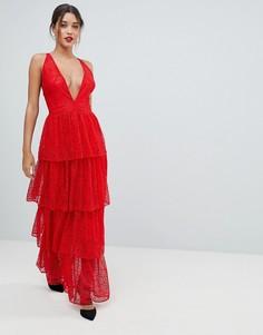Кружевное платье макси Missguided - Красный