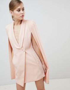 Асимметричное короткое платье-кейп Lavish Alice - Розовый