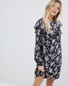Платье с цветочным принтом и оборками Vila - Темно-синий