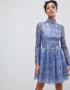 Платье миди с кружевом сзади Chi Chi London - Фиолетовый