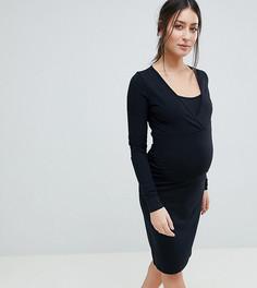 Трикотажное платье из органического хлопка с длинными рукавами и запахом Mamalicious Nursing - Черный Mama.Licious
