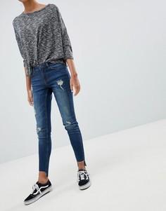 Потертые зауженные джинсы JDY Florence - Синий