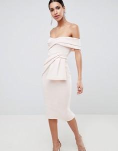 Платье-футляр миди с запахом ASOS DESIGN - Розовый