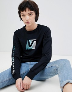 Лонгслив с принтом в стиле 80-х и логотипом на рукаве Vans - Мульти