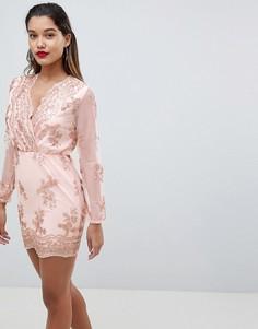 Облегающее платье с длинными рукавами AX Paris - Розовый