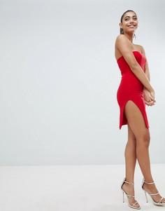 Платье мини с открытыми плечами и разрезом до бедра Fashionkilla - Красный