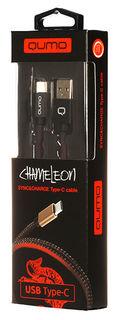 Кабель QUMO Chamelion, USB Type-C - USB 2.0, 1м, черный [23451]