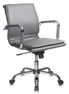 Кресло руководителя БЮРОКРАТ CH-993-Low, на колесиках, искусственная кожа, серый [ch-993-low/grey]