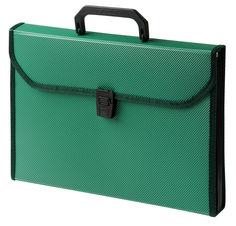 Портфель Бюрократ -BPP6TLGRN 6 отдел. A4 ребрист. поверхн. с окантовкой пластик 0.7мм зеленый
