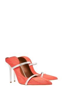 Красные туфли с двойной серебристой полоской Malone Souliers