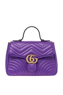 Стеганая фиолетовая сумка GG Marmont Gucci