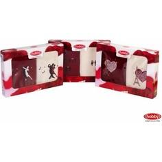 Набор из 2 полотенец Hobby home collection Love 50x90 2 штуки кремовый/бордовый (1501000506)