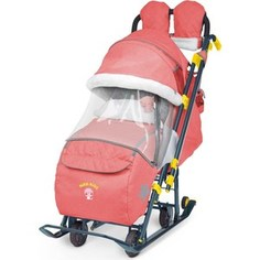Детские санки-коляска Ника Детям 7-3 (красный джинс) (1373463/1373462) Nika