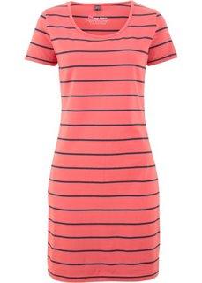 Платье-стретч с коротким рукавом и принтом (коралловый/темно-синий в полоску) Bonprix