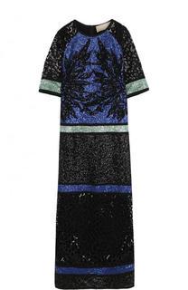 Приталенное платье-миди с пайетками Elie Saab