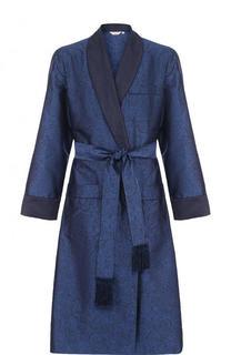 Шелковый халат с поясом и шалевым воротником Derek Rose