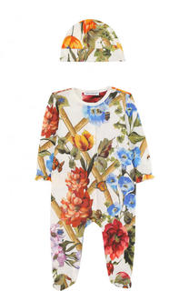 Хлопковый комплект из пижамы и шапки с принтом Dolce & Gabbana