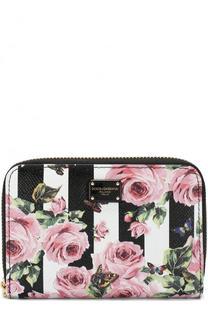 Кожаное портмоне на молнии с цветочным принтом Dolce & Gabbana