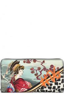 Кожаное портмоне на молнии с принтом Dolce & Gabbana