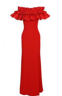 Платье-макси с открытыми плечами и оборками Alexander McQueen