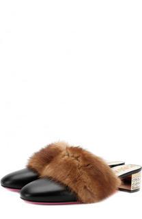 Кожаные мюли с отделкой из меха норки на декорированном каблуке Gucci