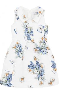 Платье из жаккарда с принтом и отложным воротником Monnalisa
