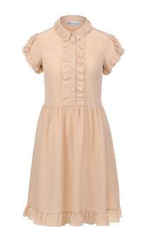 Приталенное шелковое мини-платье с оборками REDVALENTINO