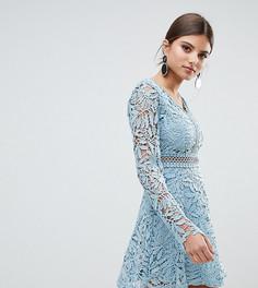 Короткое приталенное платье в стиле кроше с длинными рукавами Boohoo - Синий