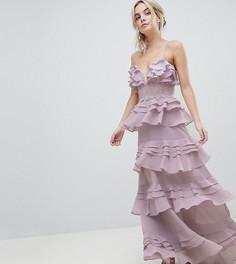Платье макси на бретелях с оборками и кружевной вставкой True Decadence Petite - Фиолетовый