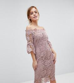 Платье миди с кружевом и широким вырезом Paper Dolls Petite - Розовый