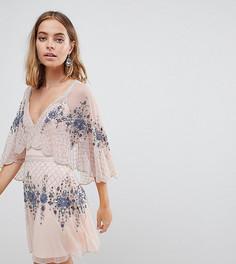 Короткое приталенное премиум-платье с кейпом и отделкой Frock And Frill Petite - Розовый