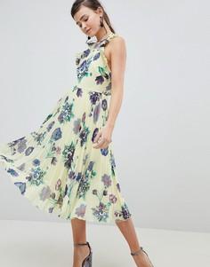 Плиссированное платье миди с цветочным принтом ASOS DESIGN - Мульти